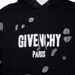 Givenchy Black Cotton Knit Logo Printed Distressed Oversized Hoodie S