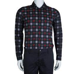 Givenchy Grey and Red Printed Checked Long Sleeve Buttondown Cotton Shirt M