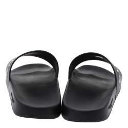 Givenchy Black Rubber Logo Pool Slides Size 44