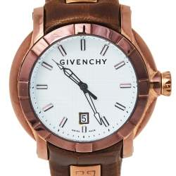 Givenchy White Bronze Tone Stainless Steel Leather GV5202.M Men's Wristwatch 45 mm
