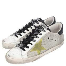 Golden Goose White/Grey Leather and Nylon Cord Superstar Sneakers Sneakers Size EU 43
