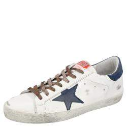 Golden Goose White/Blue Superstar Low-top Sneakers Size EU 40