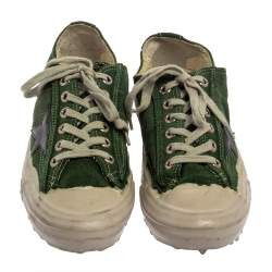 Golden Goose Green Suede V Star Dip Low Top Sneakers Size 40