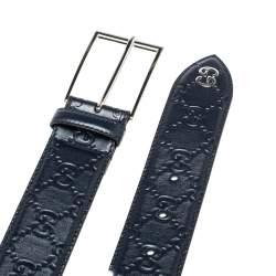 Gucci Navy Blue Guccissima Leather GG Detail Signature Belt 90CM