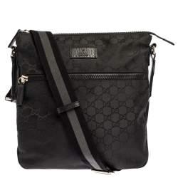 Gucci Black GG Nylon and Leather Messenger Bag