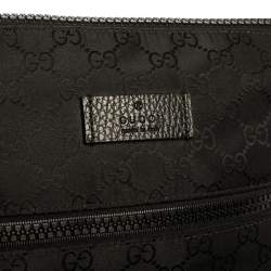 Gucci Black GG Nylon and Leather Small Messenger Bag