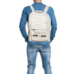 Gucci Cream White Leather Gucci Print Backpack