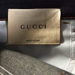 Gucci Indigo Denim Web Stripe Cuff Detail Tapered Jeans M