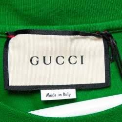 Gucci Green Logo Printed Cotton Crewneck T-Shirt L