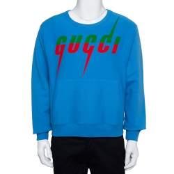 Gucci Blue Blade Logo Printed Cotton Crew Neck Sweatshirt XS