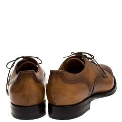Gucci Brown Leather Brogue Detail Lace Up Derby Size 44