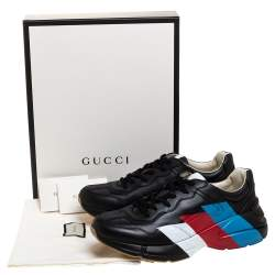 Gucci Black Leather Rhyton Logo Low Top Sneakers Size 44