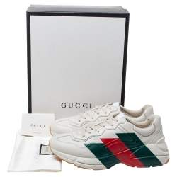 Gucci Cream Leather Web Rhyton Low Top Sneakers Size 44