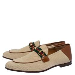 Gucci Brown Canvas and Leather Web Horsebit Loafers Size 42.5