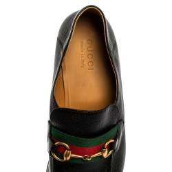 Gucci Black Leather Horsebit Web Detail Slip On Loafers Size 44.5
