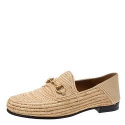 Gucci Beige Raffia Jordaan Horsebit Slip On Loafers Size 44.5