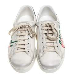 Gucci Off White Distressed Leather Ace Blade Print Low Top Sneakers Size 42