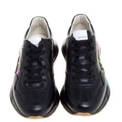 Gucci Black Leather Rhyton Gucci Logo Sneakers Size 42