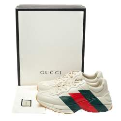 Gucci Cream Leather Web Rhyton Low Top Sneakers Size 41.5