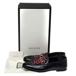 Gucci Black Leather Brixton Snake Loafers Size 40