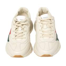 Gucci Cream Leather Web Rhyton Low Top Sneakers Size 42