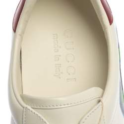 Gucci White Leather Ace Loved Print Low Top Sneakers Size 41.5