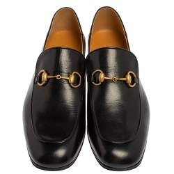 Gucci Black Leather Quentin Horsebit Foldable Slim Loafers Size 43