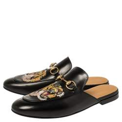 Gucci Black Tiger Embroidered Leather Princetown Horsebit Mules Size 43.5