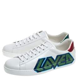 Gucci White Leather Ace Loved Low Top Sneakers Size 41