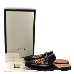 Gucci Black Tiger Embroidered Leather Princetown Horsebit Mules Size 45