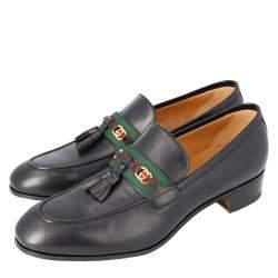 Gucci Black Leather Web Interlocking G Slip On Loafers Size UK 10 EU 44