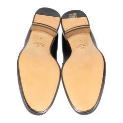 Gucci Black Leather Web Interlocking G Slip On Loafers Size UK 11 EU 45