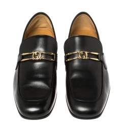 Gucci Black Leather Interlocking GG Loafers Size 43