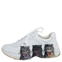 Gucci White Leather Rhyton Tigers Print Low Top Sneakers Size 43