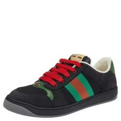 Gucci Black Leather And Canvas Web Lace Up Sneakers Size 42.5