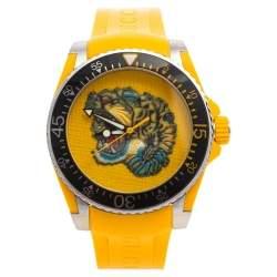 Gucci Yellow Stainless Steel Rubber Tiger Motif Dive YA136317 Men's Wristwatch 40 mm