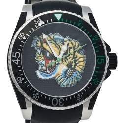 Gucci Black Stainless Steel Tiger Motif Dive YA136318 Men's Wristwatch 40 mm