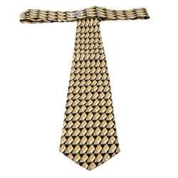 Gucci Vintage Black and Yellow Bag Print Silk Tie