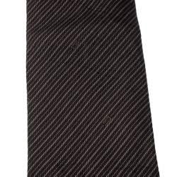 Gucci Vintage Dark Brown Diagonal Striped Silk Jacquard Tie