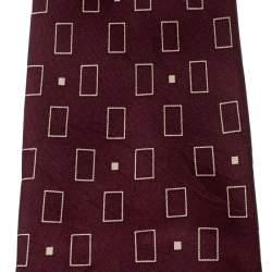 Gucci Burgundy Silk Rectangle Box Pattern Tie