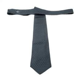 Gucci Navy Blue Silk Jacquard Logo Patterned Tie