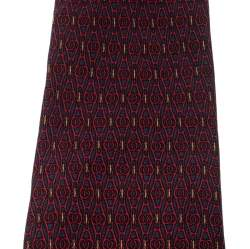 Gucci Vintage Burgundy Geometric Pattern Silk Tie