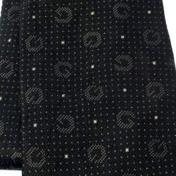 Gucci Black and Gold Pin Dot Logo Pattern Silk Jacquard Tie