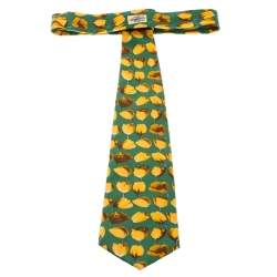 Gucci Vinatge Green and Yellow Floral Print Silk Tie