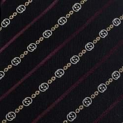 Gucci Black Diagonal Striped Monogram Jacquard Silk Tie