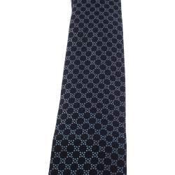 Gucci Navy Blue Geometric Patterned Silk Tie