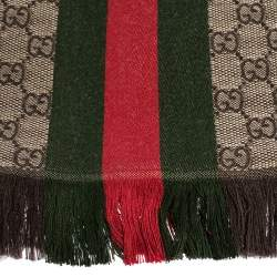 Gucci Brown Web Striped GG Jacquard Knit Wool & Silk Scarf