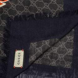 Gucci Grey & Navy Web Stripe Wolf Head Wool Stole