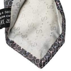 Gucci Grey Saddle Pattern Jacquard Silk Tie