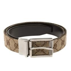 Gucci Beige/Brown GG Canvas and Leather Square Buckle Belt 95CM